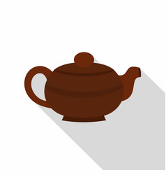 Brown chinese teapot icon flat style vector