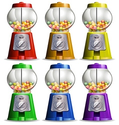 Bubble gum machine in different colors vector