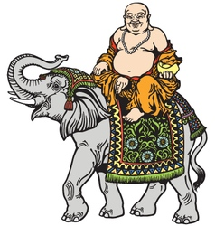 Buddha and elephant vector