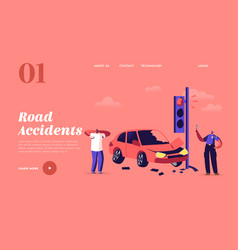 car accident on road landing page template male vector image