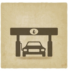 car at gas station old background vector image