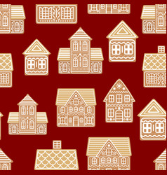 cartoon festive gingerbread houses seamless vector image