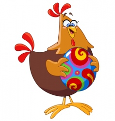Chicken with Easter egg vector