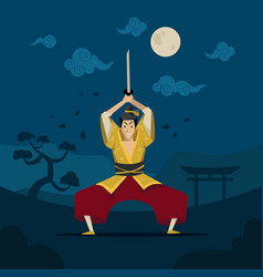 Chinese or japanese warrior in traditional kimono vector