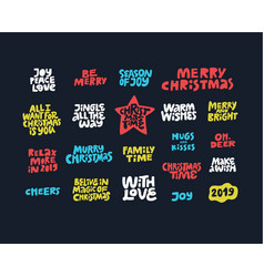 Christmas wishes quotes hand drawn lettering set vector