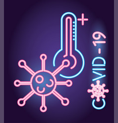 Covid19 particle with thermometer neon light style vector