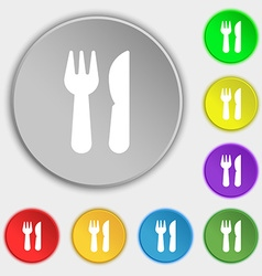 Crossed fork over knife icon sign Symbol on eight vector