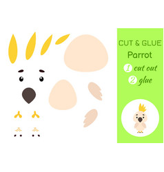 cut and glue paper little parrot kids crafts vector image