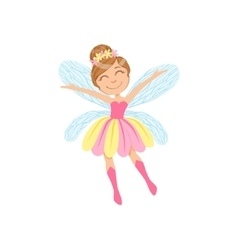 Cute Fairy In Pink And Yellow Dress Girly Cartoon vector