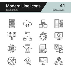data analysis icons modern line design set 41 vector image