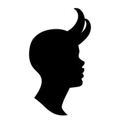 demon girl profile silhouette with horns vector image