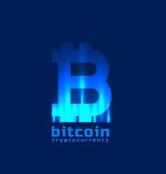 digital bitcoins symbol with light effect vector image