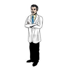 doctor with mustache in uniform professional vector image
