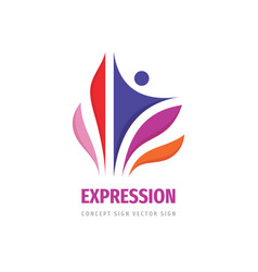 Expression human colored petals business logo vector
