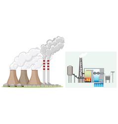Factory chimney produces smoke vector