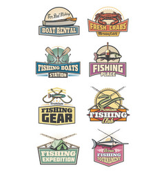 Fishery gear fishing club retro icons rod and fish vector