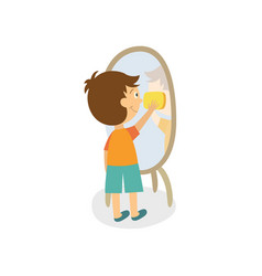 flat boy wiping mirror by rag vector image