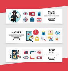 flat hacking horizontal banners vector image