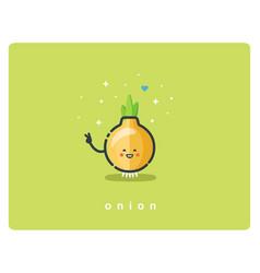 flat onion icon food cartoon cute character vector image