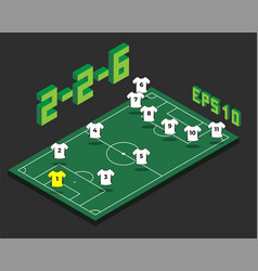 football 2-2-6 formation with isometric field vector image