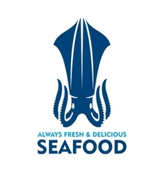 Fresh and delicious seafood icon with blue squid vector