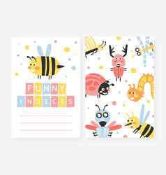 funny insects card template invitation or vector image