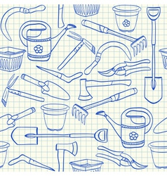 Gardening tools seamless pattern vector image