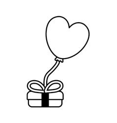 gift box balloon heart festive valentine outline vector image