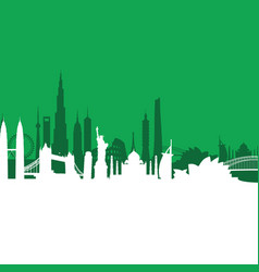 Green cityscape background vector