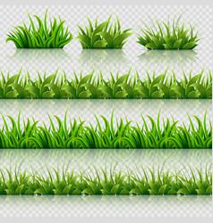 Green grass seamless borders set vector