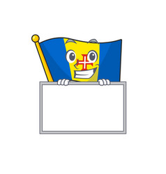 Grinning with board flag madeira cartoon character vector