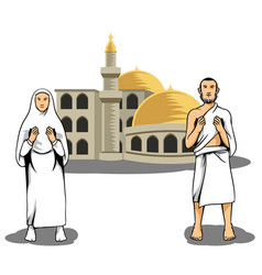 hajj pilgrim praying in front of mosque vector image