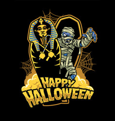 halloween design mummy out from sarcophagus vector image