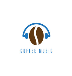 headphones with coffee bean design template vector image