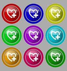 Heart sign icon Love symbol Symbol on nine round vector image