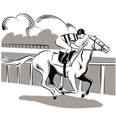 Horse and rider during a race vector