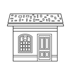 House with roof icon outline style vector