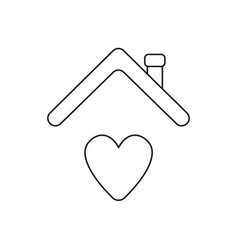 icon concept heart under house roof vector image