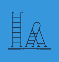 Isolated linear icon of ladder and stepladder vector