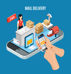 isometric mail delivery composition vector image
