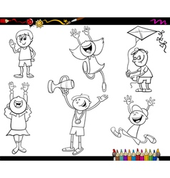 Kids characters coloring page vector
