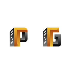 Letter p and letter g combined building logo vector