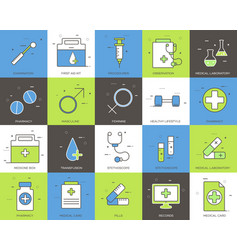 Line icons set of medical collection concept vector