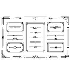 Linear geometric art deco ornaments retro label vector