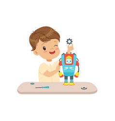 little boy building a robot robotics and vector image