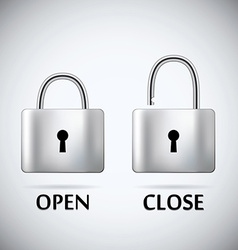 Locked and unlocked padlock steel text open close vector