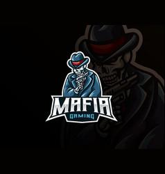 Mafia skull mascot sport logo design vector