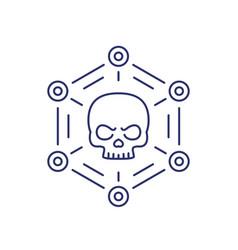 Malware cyber attack or virus line icon vector