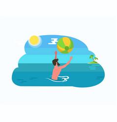 Man playing ball in water sealine sun and island vector