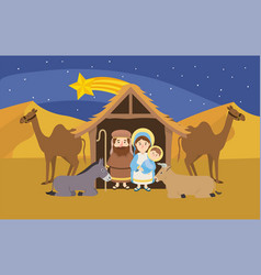 Mary and joseph with jesus inside manger and vector